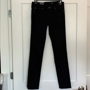 AG Size26 The Stilt Cigarette Leg Jean Super Black